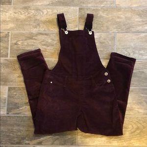 Abercrombie kids velvet burgundy overalls girls 11